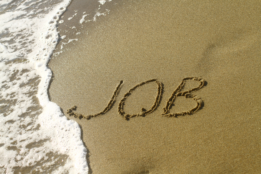 The word JOB spelled on the beach