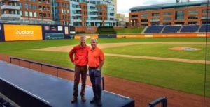 Avalara's Scott McFarlane (CEO) and Bill Ingram (CFO) at the Durham Bulls Athletic Park for 2016 company meeting.
