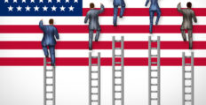 Men and women climbing ladder to American flag