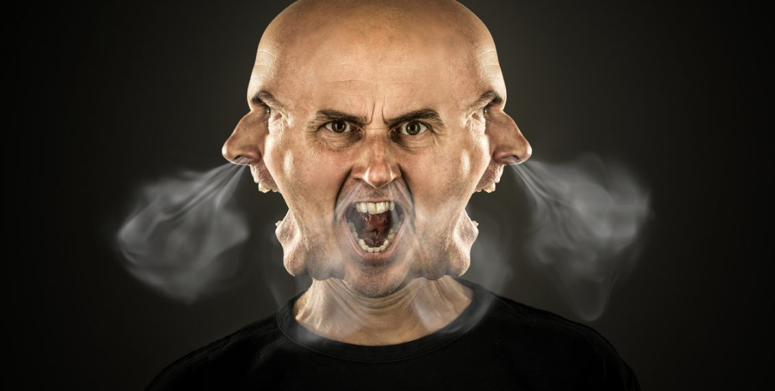 angry shouting man letting off steam